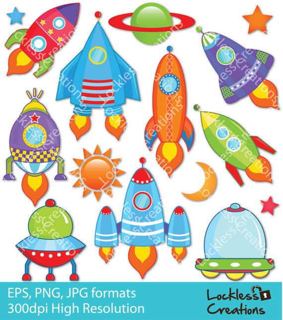 Funky Rockets Digital Clip Art by LocklessCreations on Etsy, $5.00