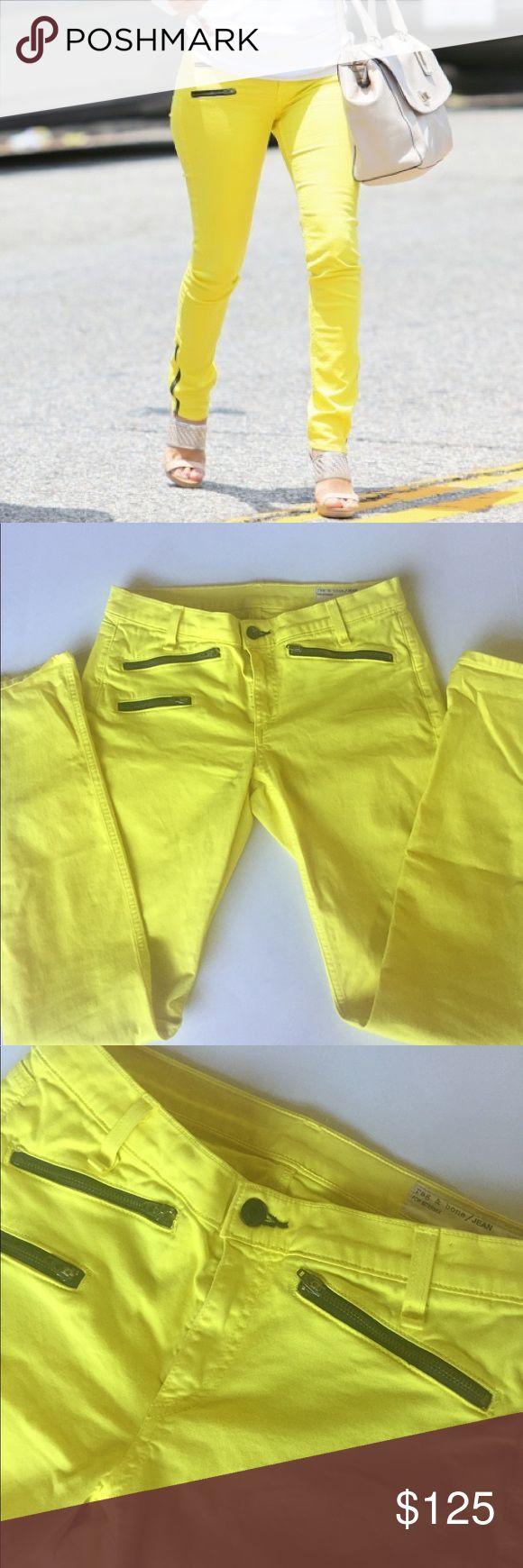 *rag & bone* Rag & bone yellow skinny jeans with black accent zippers in a size 27. Rise 8, inseam 29, waist 15 rag & bone Jeans Skinny