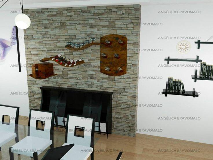 Mueble auxiliar de bar empotrado en la pared y con repisas móviles. Primera opción de deslizamiento.