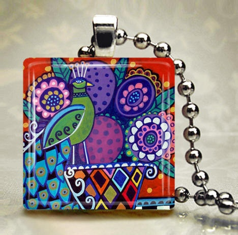 Peacock JEWELRY Necklace Pendant Charm Glass Tile Silver Flowers Folk Art Bird