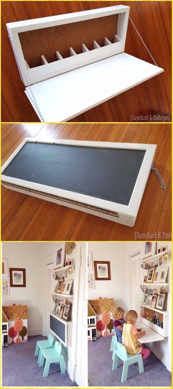DIY Wall Mounted Secretary Desk for Kids Tutorial - DIY Wall Mounted Desk Free Plans & Instructions