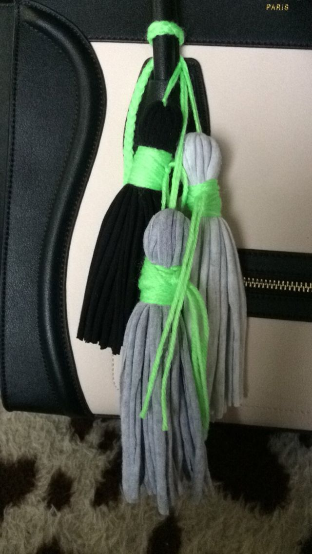 Tassels made from old singlets and neon wool/yarn