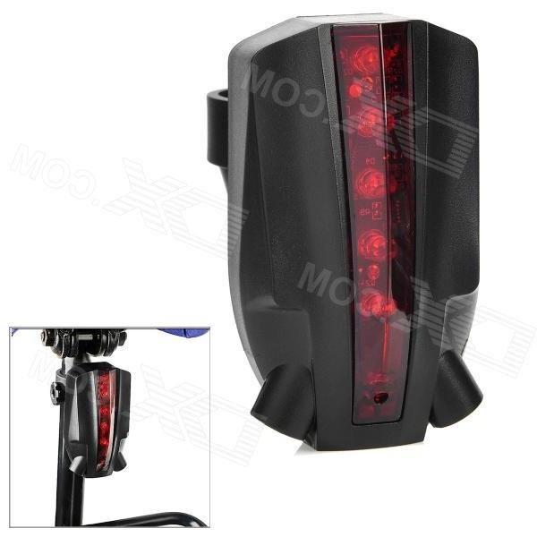 Owimin BRL-201 4-Mode 5-LED Red Light Wireless Laser Bicycle Brake / Tail Light - Red + Black