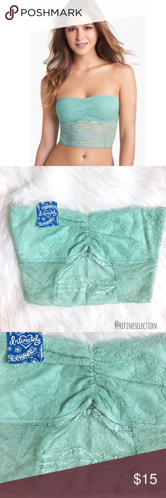 Free People Galloon Lace Crop Seafoam Bandeau Brand new with tags, available in size XS, Small and Medium. This Free People Galloon Lace Crop Seafoam Green Bandeau is perfect to layer under a loose tank top or tee! Made of soft, flexible lace, it is so comfortable and stylish. Unpadded. Love the scallop detailing on top. Made of 82% Nylon and 18% Spandex. The last 2 pictures are of the same bandeau, in a slightly different color, posted to show the fit. Other colors and sizes also available…