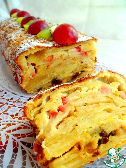 Яблочный пирог из слоеного теста в сливочно-коричной заливке - кулинарный рецепт