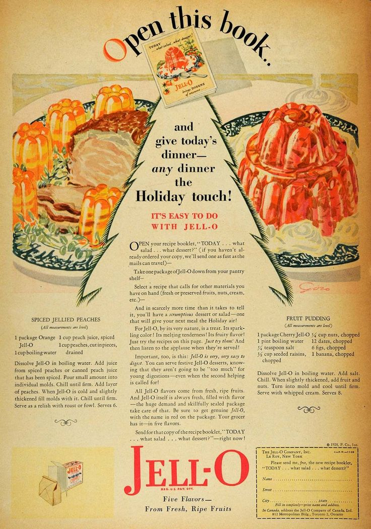 1928 Ad Jell-O Holiday Touch Fruit Dessert Mold Recipes - ORIGINAL HOH1