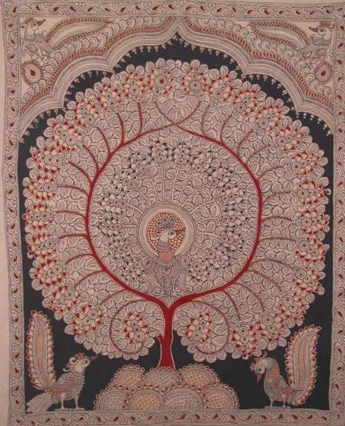 'Peacock Tree' - Tree of Life  Kalamkari' painting - hand painted with natural vegetable dyes, India.