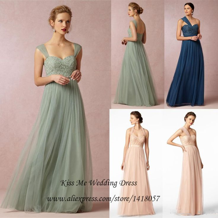 ==> [Free Shipping] Buy Best Imported Mint Green Navy Blue Pink Tulle Lace Bridesmaid Dress Long Wedding Party Dresses Detachable Straps Halter 2015 Vestidos Online with LOWEST Price | 32334969338