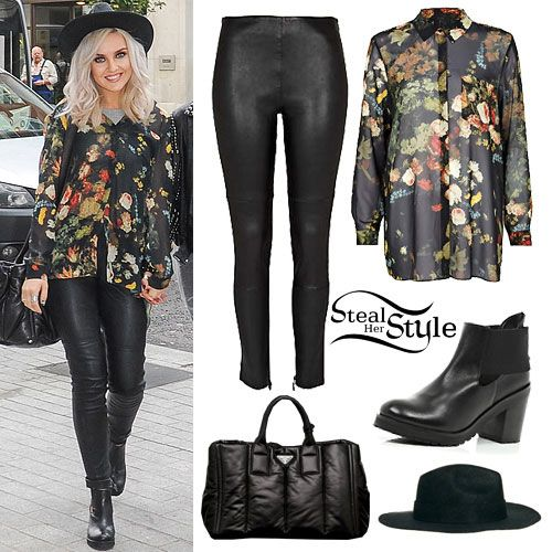 Perrie Edwards arrived at the BBC Radio 1 studios yesterday wearing a Black Rihanna Floral Pleat Back Shirt (sold out), Black Rihanna Stretch Leather Pants ($625.00) and Black Cut Out Block Heel Ankle Boots ($130.00), all from River Island, an ASOS Felt Fedora ($35.60) and a Prada Leather Tote Bag ($1.795.00). Get the look with Topshop Coated Biker Skinny Trousers ($84.00) and a bag from Zalando (£44.00)