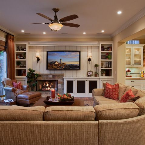 Family Room Design Ideas - nice long sectional and good placement