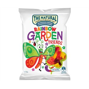 A box of 12 bags of The Natural Confectionery Company Rainbow Garden Friends Lollies.