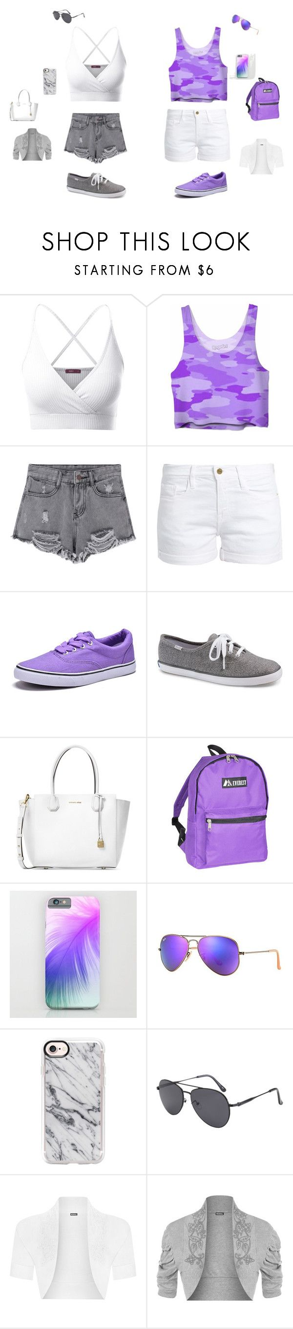 """Dames kleding"" by kleine-irma-van-zundert ❤ liked on Polyvore featuring Doublju, Frame, Dream Seek, Keds, Michael Kors, Everest, Ray-Ban, Casetify and WearAll"