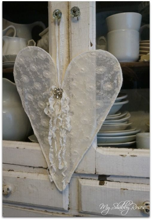 Lovely lace heart - prettier than the other I've pinned, love the way she did this - posted by My Shabby Roses