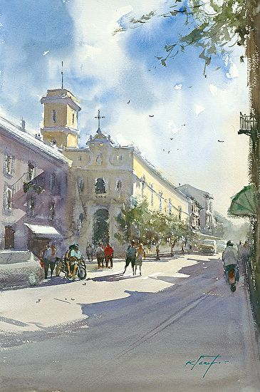 Sorrento, Italy VI by Keiko Tanabe Watercolor ~ 21 1/2 x 14 1/4 inches (54.5 x 36 cm)