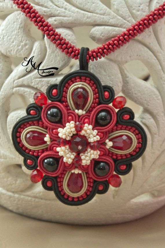 Soutache jewelry Soutache necklace Black red от AMdesignSoutache