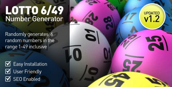 Lottery Number Generator - 6/49 . This PHP script is designed to generate 6 random numbers in the range 1 – 49 inclusive, designed with the UK National Lottery in mind but it works with any 6/49