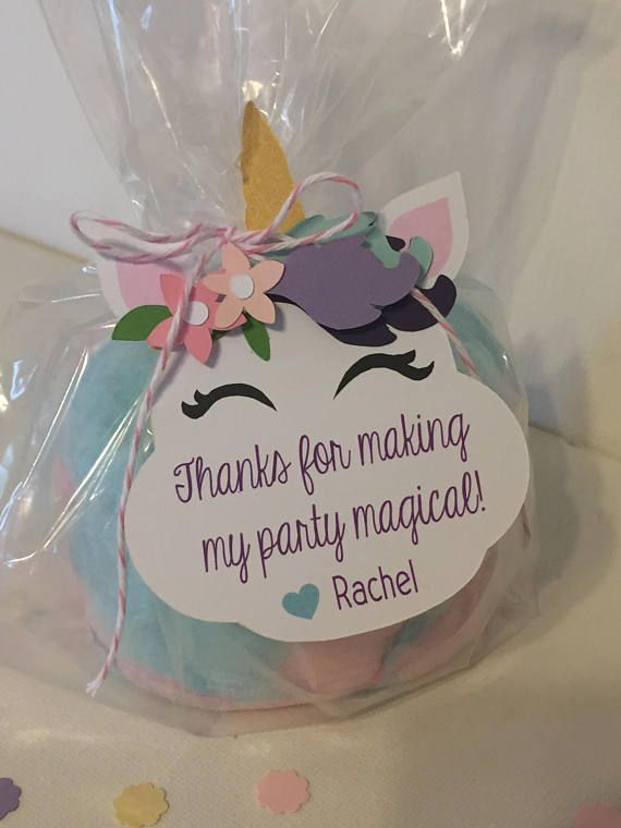 Unicorn birthday party favor tags Soft whimsical colors and flowers make these u…