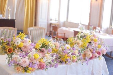 春の装花 シェ松尾天王洲倶楽部さまへ : 一会 ウエディングの花