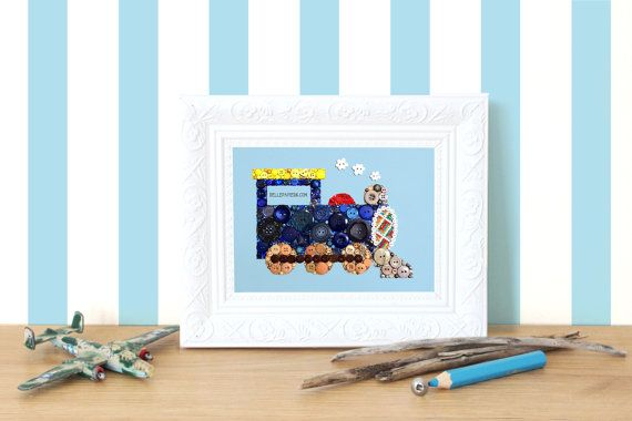 8x10 Button Art Choo Choo Train Baby Shower Gift by BellePapiers