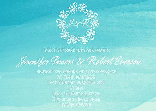summer scuba blue beach watercolor wedding invitations EWI373