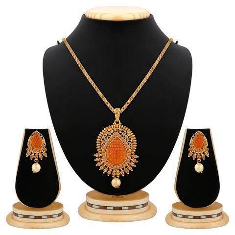 Golden Color Brass Necklace Set  - RLNS-1363