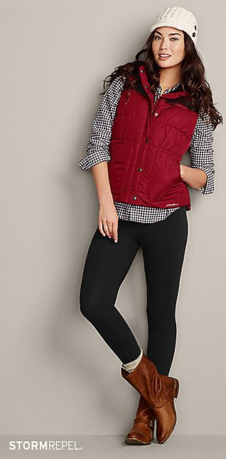 Eddie Bauer ~ In Town Style vest, leggings, boots, flannel