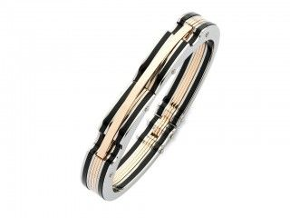 Stainless Steel Rose Plated Bangle. Sku: HN040014