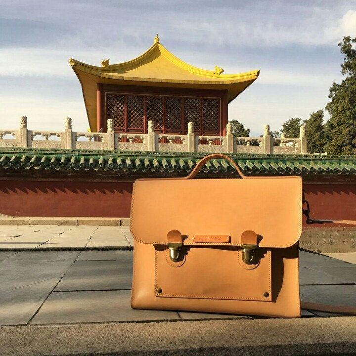 Custom leather briefcase by el Mato in Pechino!!!