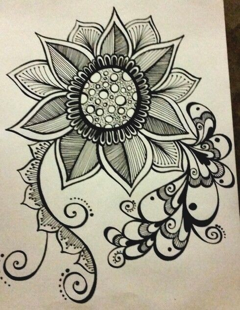 Zentangled flower tattoo design. JOANNA OSBORNE