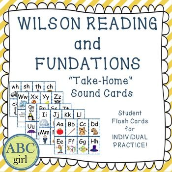 "Wilson Reading and Fundations ""Take-Home"" Sound Cards! These flashcards are a perfect tool for parents to use to reinforce the letters, keywords, and sounds that are being taught during your Fundations and Wilson Reading lessons! Included in this pdf."
