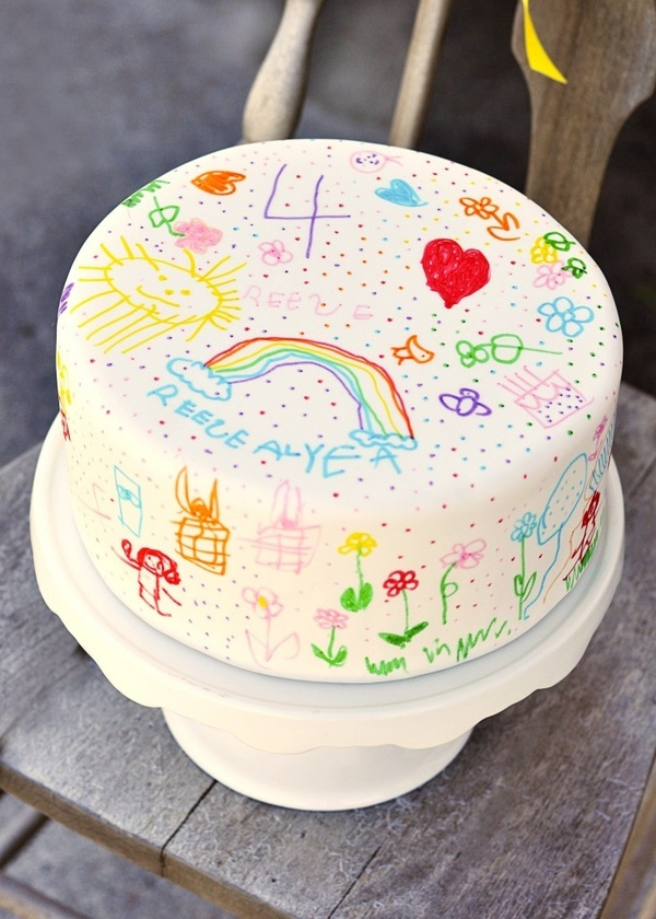 Doodle Cake: What a great idea! Use white fondant to cover your cake and use food markers to let your child decorate their cake. Imagine doing this every year and seeing (in pictures) how your child develops...so fun! I just may start making a small one of these for the kids on their birthday in addition to whatever cake I am making just because it is such a fun idea!!