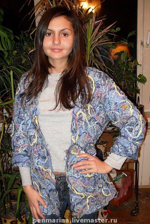 """Купить Жакет """"Джинсовый"""" - жакет, женская одежда, крейзи-вул, абстрактный, джинсовый стиль"""