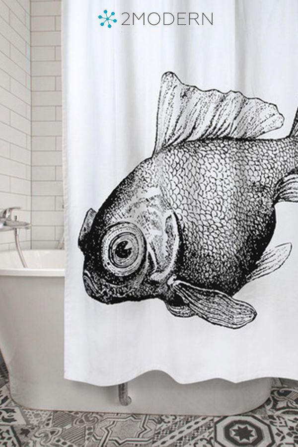 Goldfish Shower Curtain With Images Scandinavian Bathroom Design Ideas White Bathroom Designs Shower Curtain