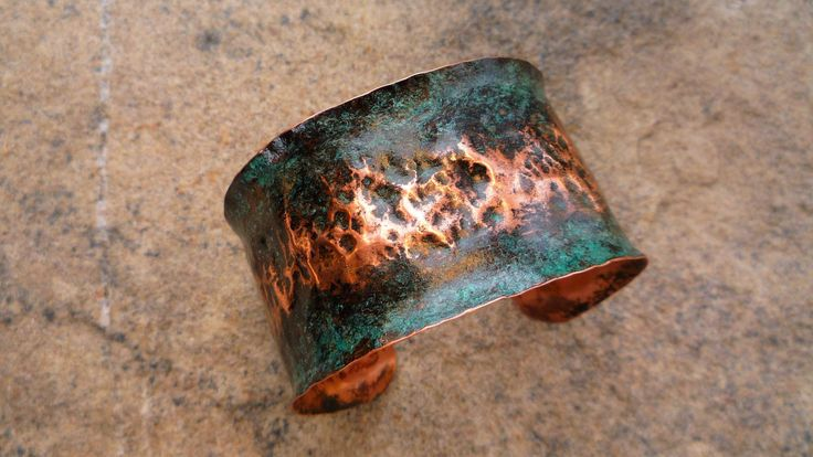 Copper cuff, Rustic cuff bracelet, Patina jewelry, Verdigris bracelet, Boho jewelry,  Ancient bracelet, Hammered copper, Wide bracelet, by MarbeyaJewelry on Etsy