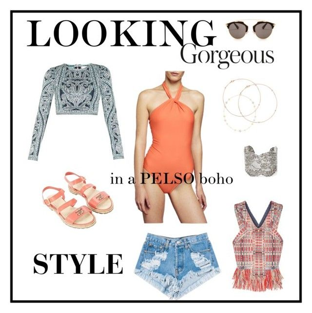"""""""Looking gorgeous in a PELSO boho style!"""" by pelso on Polyvore featuring Levi's, Hervé Léger, Tory Burch, Idylle, Chanel, Christian Dior and Aurélie Bidermann"""