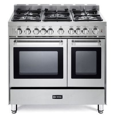"""36"""" - Gas Double Oven Range - 2 Convection Ovens, Stainless Steel"""