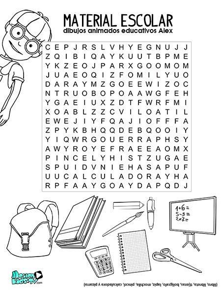 Sopa letras imprimir actividades niños vuelta al cole