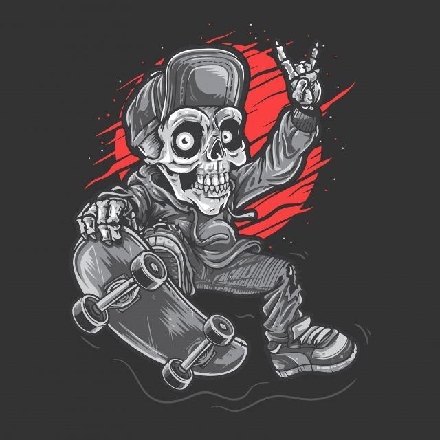 Skull Skater Skull Vector Illustration Vector Illustration Skeleton Artwork Illustration