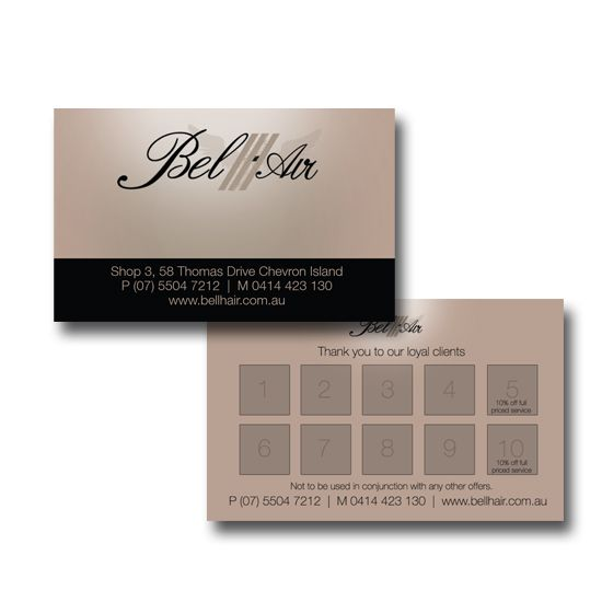 Bell Hair Business and Loyalty Cards Design by www.concept-designs.com.au. For more designs visit our website.