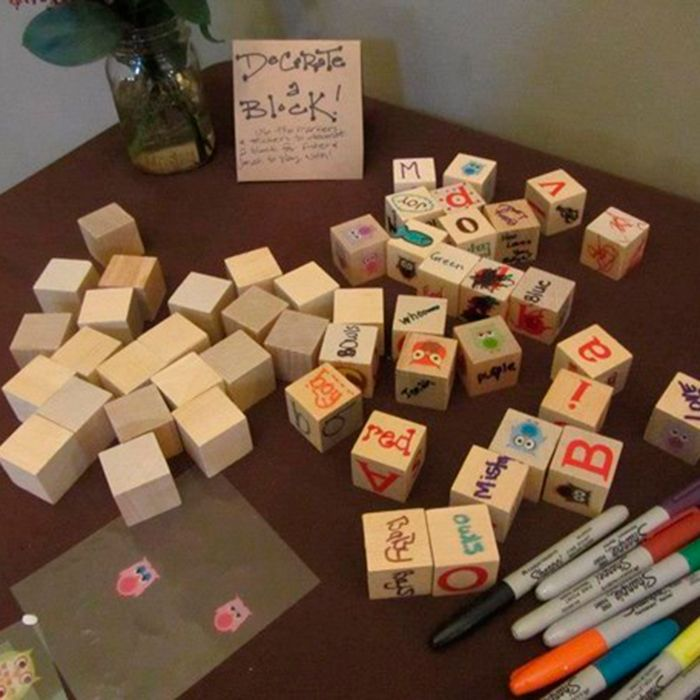 abc blocks baby shower idea guests decorate blocks with different