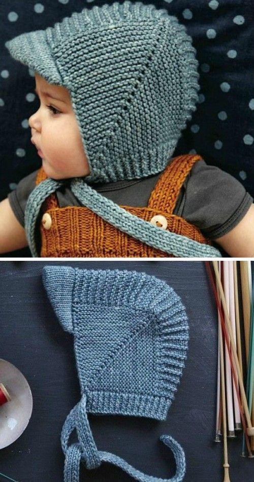 f726b240b Vintage Baby Bonnet With Visor - Free Knitting Pattern (Beautiful ...