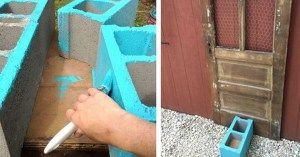 She Painted Cinder Blocks And Set Them In Front Of The Old Door. Cool Decoration!