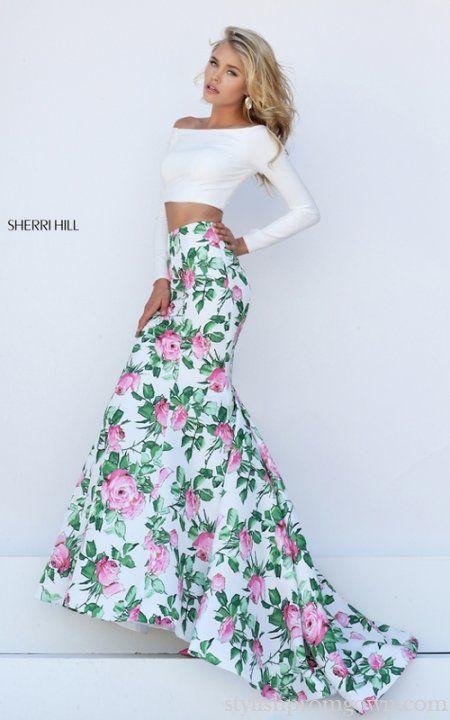 2016 Sherri Hill 50433 Floral Two Piece Mermaid Prom Dress