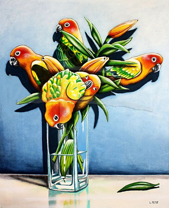 Sun Conure Lilies by Australian artist Laural Retz
