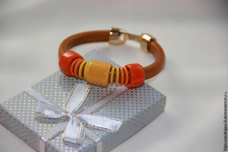 Купить Позитив - оранжевый, желтый, яркий, браслет из кожи, регализ испания, regaliz браслет