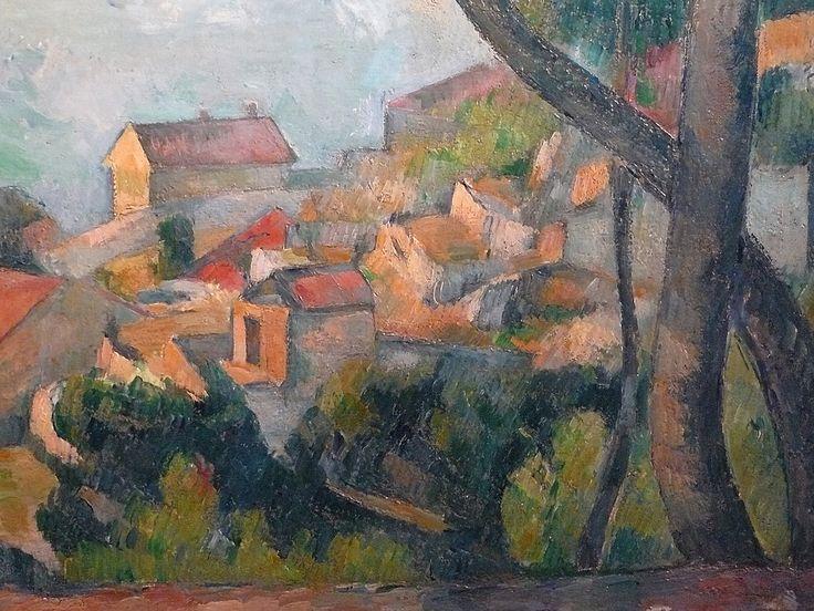 CEZANNE,1878-79 - Mer à l'Estaque, derrière les Arbres - Sea at l'Estaque (Musée Picasso) - Detail -b--   Cézanne à Pissarro : « J'ai commencé deux petits motifs où il y a la mer, pour Monsieur Chocquet qui m'en avait parlé. – C'est comme une carte à jouer. Des toits rouges sur la mer bleue. Si le temps devient propice peut-être pourrais-je les pousser jusqu'au bout. En l'état je n'ai encore rien fait. » (L'Estaque, 2 juillet 1876)