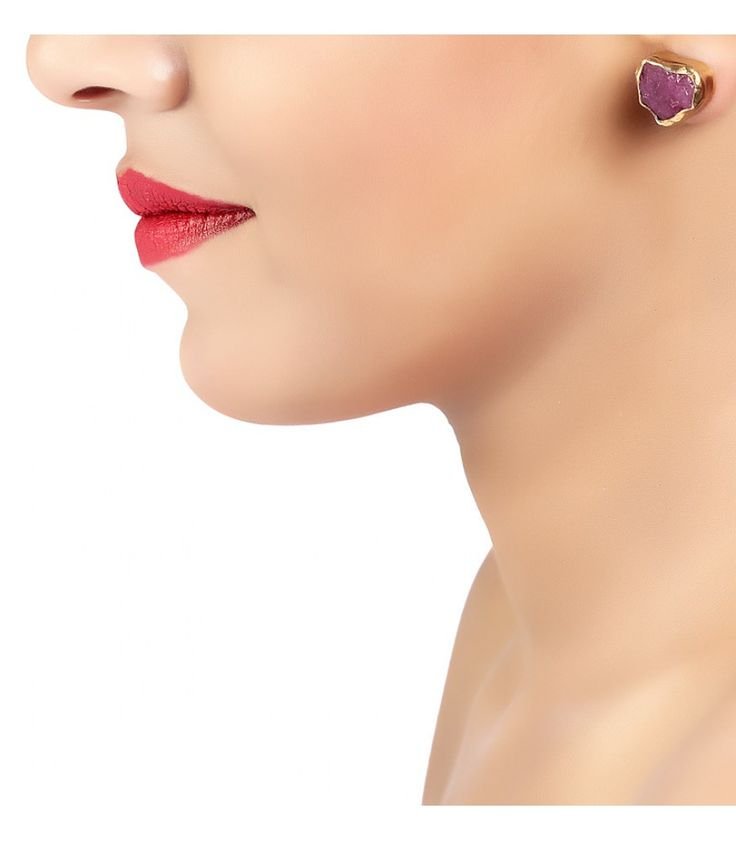 The Spirited Ruby Gold Studs Earrings by Zariin. Hand crafted with ruby in 22kt gold plating.See the collection at www,zariin.com  #ruby #stone #goldplated #earrings #zariin #jewelry.