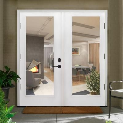 Primed White Fiberglass Prehung Right Hand Outswing Full Lite Patio Door