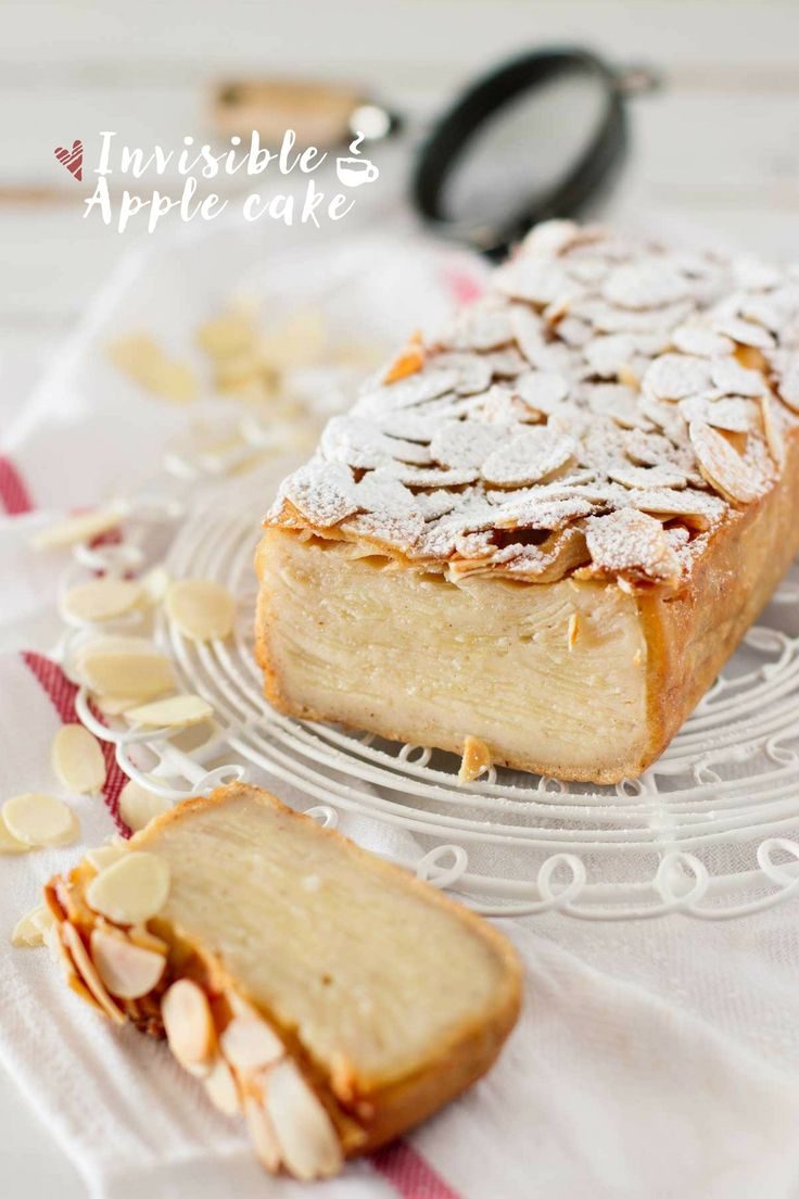 "Invisible Apple cake by chopstickchronicles: The name ""invisible"" cake comes from when thinly sliced apple is baked with a cake batter; the layer of sliced apple becomes invisible. When the cake is sliced, you can barely see the beautiful layer of sliced apple.  #Apple_Cake"