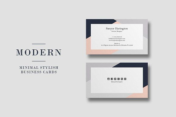 Modern Stylish Minimal Business Card Minimal Business Card Business Card Photoshop Business Card Template Design
